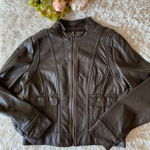 JouJou Brown Faux Leather Jacket- Large